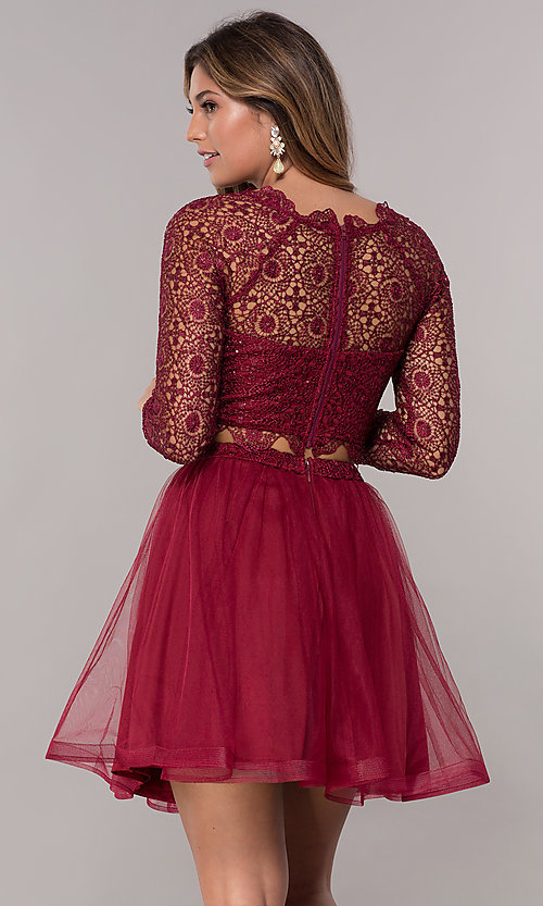 Image of homecoming two-piece long-sleeve dress by PromGirl. Style: LP-PL-97070 Back Image