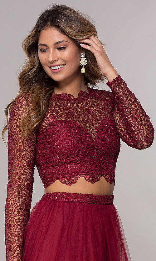 Image of homecoming two-piece long-sleeve dress by PromGirl. Style: LP-PL-97070 Detail Image 1
