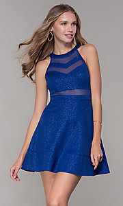 Image of short royal blue glitter-jersey party dress. Style: EM-DHX-2589-420 Front Image