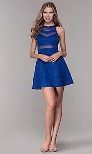 Image of short royal blue glitter-jersey party dress. Style: EM-DHX-2589-420 Detail Image 3