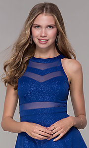 Image of short royal blue glitter-jersey party dress. Style: EM-DHX-2589-420 Detail Image 1