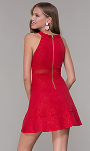 Image of short red glitter-jersey semi-formal party dress. Style: EM-DHX-2589-600 Back Image