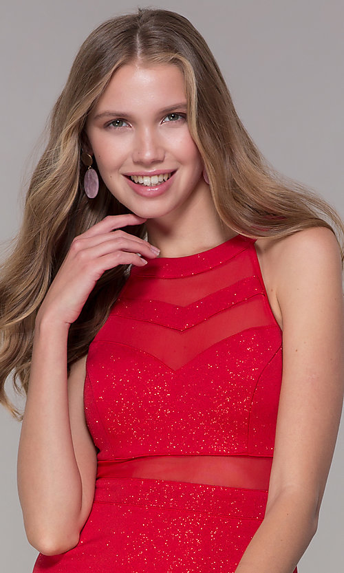Image of short red glitter-jersey semi-formal party dress. Style: EM-DHX-2589-600 Detail Image 1