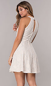 Image of high-neck short racer-front lace party dress. Style: EM-ERU-3823-690 Back Image