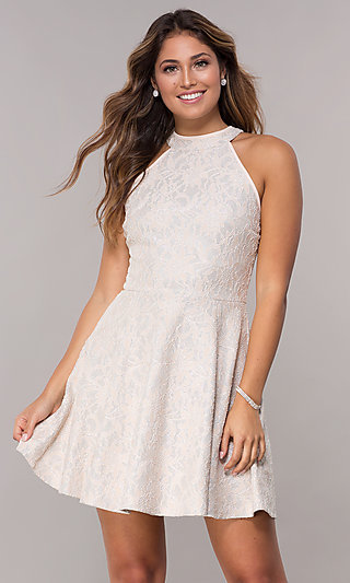 High-Neck Short Racer-Front Lace Party Dress
