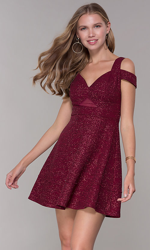 Image of cold-shoulder party dress in wine red glitter jersey. Style: EM-HBN-1356-550 Front Image