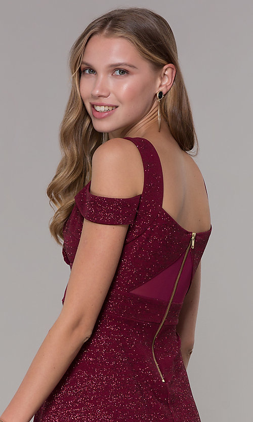 Image of cold-shoulder party dress in wine red glitter jersey. Style: EM-HBN-1356-550 Detail Image 2