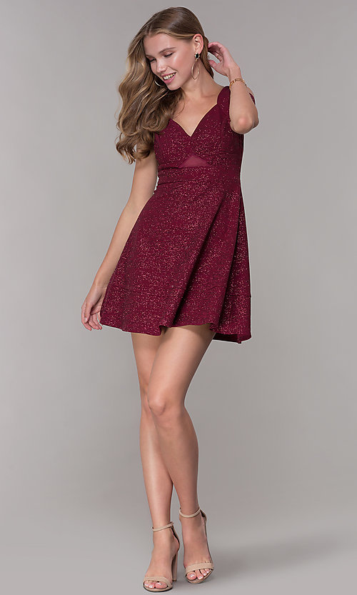 Image of cold-shoulder party dress in wine red glitter jersey. Style: EM-HBN-1356-550 Detail Image 3