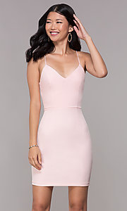 Image of corset-tie-back homecoming short v-neck dress. Style: MT-9365 Back Image