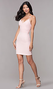 Image of corset-tie-back homecoming short v-neck dress. Style: MT-9365 Detail Image 1