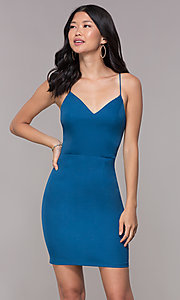 Image of corset-tie-back homecoming short v-neck dress. Style: MT-9365 Detail Image 3