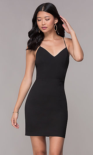 cb4bcb6d23f Black. Corset-Tie-Back Homecoming Short V-Neck Dress