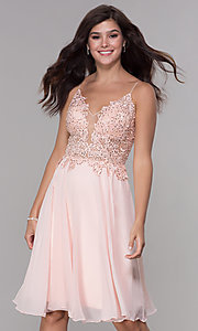 Image of knee-length v-neck hoco dress in blush pink chiffon. Style: NA-A660 Front Image