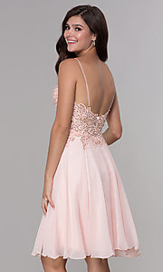 Image of knee-length v-neck hoco dress in blush pink chiffon. Style: NA-A660 Back Image