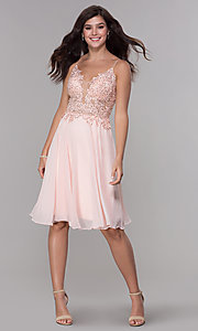 Image of knee-length v-neck hoco dress in blush pink chiffon. Style: NA-A660 Detail Image 3
