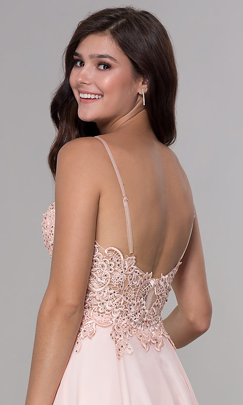 Image of knee-length v-neck hoco dress in blush pink chiffon. Style: NA-A660 Detail Image 2