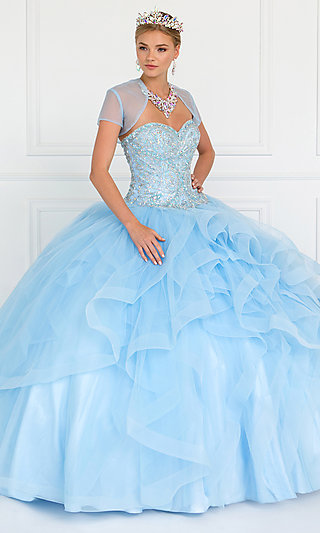 Strapless Quinceanera Gown with a Capelet