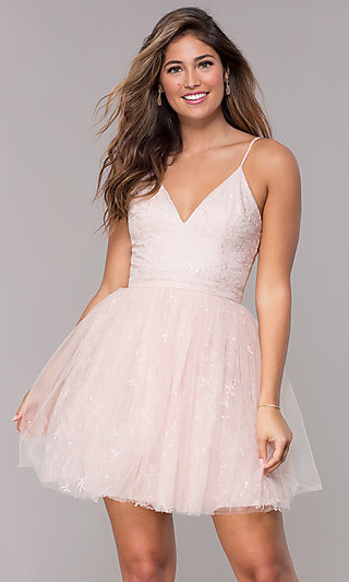 Embroidered Short Tulle Homecoming Dress in Blush