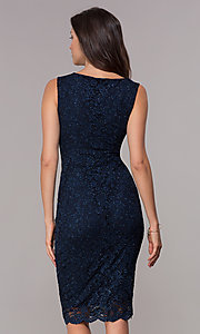 Image of navy knee-length glitter-lace holiday dress. Style: JU-ON-650285 Back Image