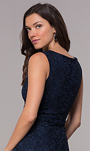 Image of navy knee-length glitter-lace holiday dress. Style: JU-ON-650285 Detail Image 2