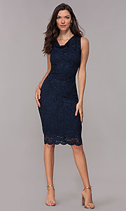 Image of navy knee-length glitter-lace holiday dress. Style: JU-ON-650285 Detail Image 3