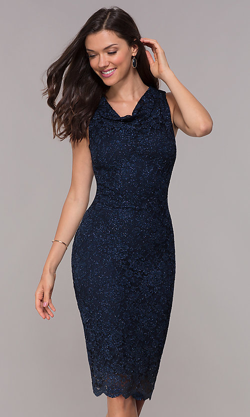 Image of navy knee-length glitter-lace holiday dress. Style: JU-ON-650285 Front Image
