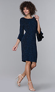 Image of glitter-knit black wedding-guest dress with sleeves. Style: JU-ON-650258 Detail Image 3