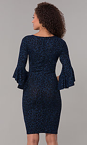 Image of glitter-knit black wedding-guest dress with sleeves. Style: JU-ON-650258 Back Image