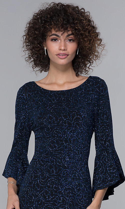 Image of glitter-knit black wedding-guest dress with sleeves. Style: JU-ON-650258 Detail Image 1