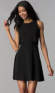 Image of a-line short black popover-bodice party dress. Style: JU-10816 Front Image