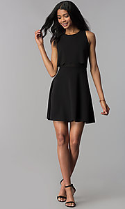 Image of a-line short black popover-bodice party dress. Style: JU-10816 Detail Image 3