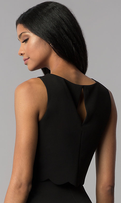 Image of a-line short black popover-bodice party dress. Style: JU-10816 Detail Image 2