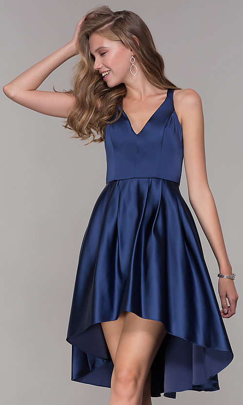 ec594697b0b7 Image of high-low v-neck navy blue party dress. Style  MY