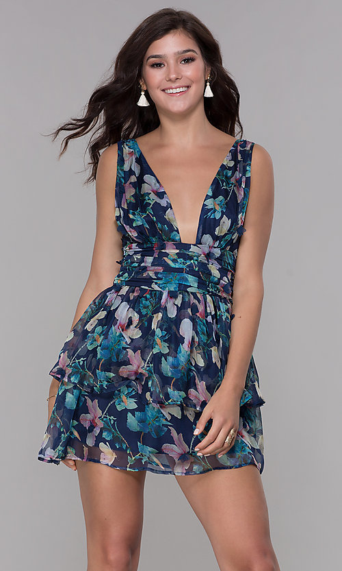 3ca436c791 Image of navy blue short floral-print v-neck homecoming dress Style: LUX