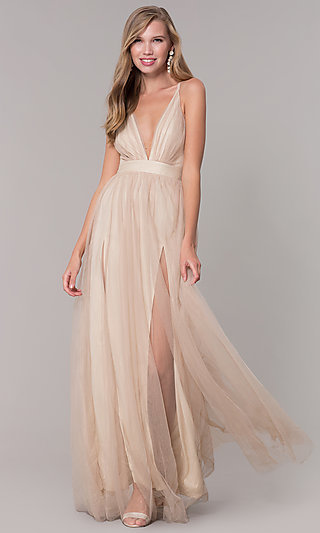 Long V-Neck Gold Tulle Formal Dress