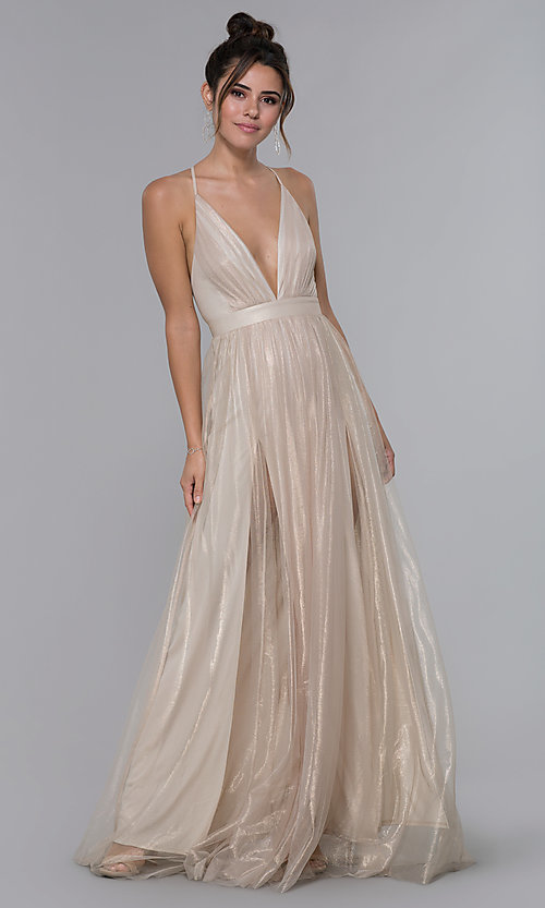 Image of long v-neck gold tulle formal dress. Style: LUX-LD4888 Front Image