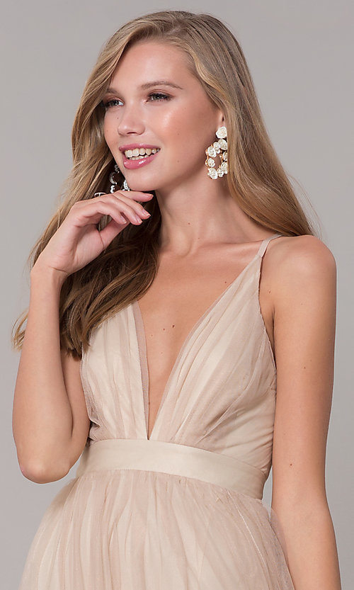 Image of long v-neck gold tulle formal dress. Style: LUX-LD4888 Detail Image 1