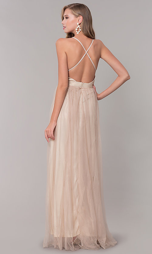 Image of long v-neck gold tulle formal dress. Style: LUX-LD4888 Back Image