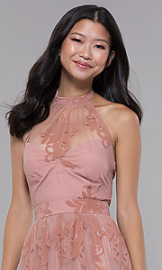 Image of high-neck long halter formal dress in blush pink. Style: LUX-LD4909 Detail Image 1