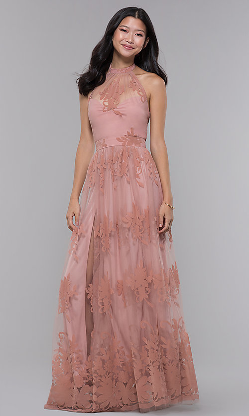 Image of high-neck long halter formal dress in blush pink. Style: LUX-LD4909 Front Image