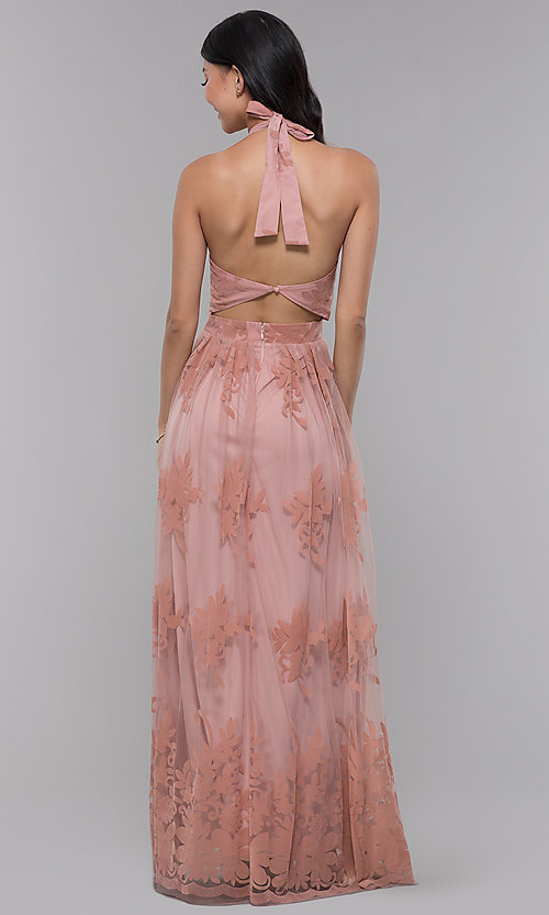 Image of high-neck long halter formal dress in blush pink. Style: LUX-LD4909 Back Image