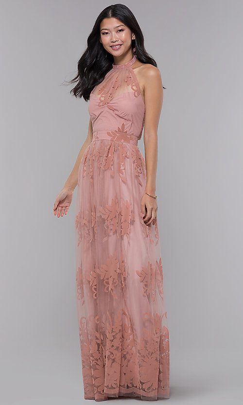 Image of high-neck long halter formal dress in blush pink. Style: LUX-LD4909 Detail Image 3