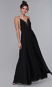 Image of long black chiffon lace-v-neck formal dress. Style: LUX-LD4733 Detail Image 3