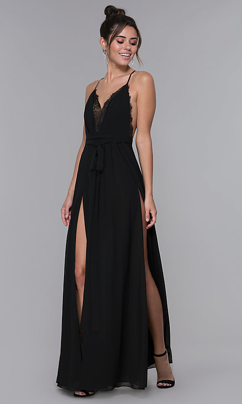 Image of long black chiffon lace-v-neck formal dress. Style: LUX-LD4733 Front Image