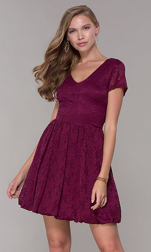 Image of short lace bubble-hem v-neck party dress. Style: MY-5254GA1D Front Image