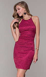 Image of short cranberry pink jacquard-print party dress. Style: MY-7094JN1C Front Image