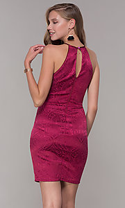 Image of short cranberry pink jacquard-print party dress. Style: MY-7094JN1C Back Image