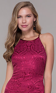 Image of short cranberry pink jacquard-print party dress. Style: MY-7094JN1C Detail Image 1