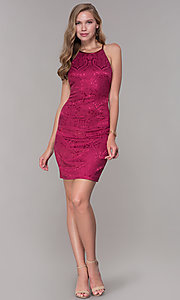 Image of short cranberry pink jacquard-print party dress. Style: MY-7094JN1C Detail Image 3