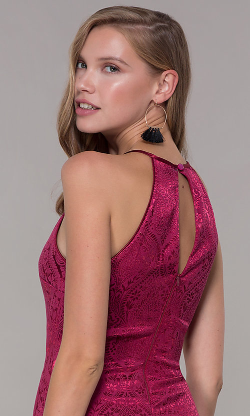 Image of short cranberry pink jacquard-print party dress. Style: MY-7094JN1C Detail Image 2